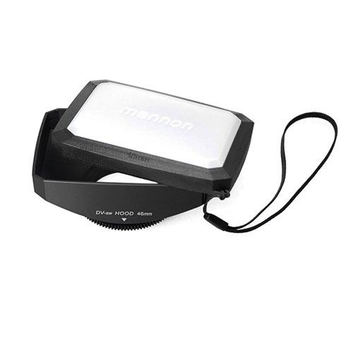 Mennon 46mm 16:9 Wide Angle Video Camera Screw Mount Lens Hood with White Balance Cap, Black Video Camera Lens Hood