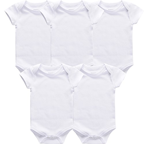 - Momsbabe Baby Bodysuit White Unisex Size Infant Short Sleeve Onesies 100% Cotton Pajamaj Gift Newborn Mom (5psc-6M)