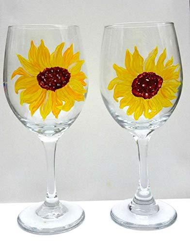 (2 Yellow Sunflower Hand Painted Wine Glasses )