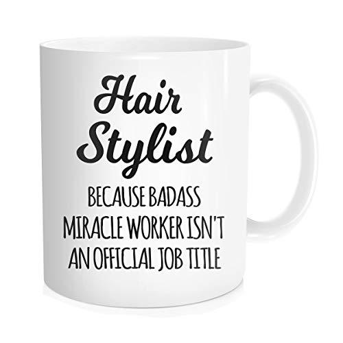 Waldeal Hairstylist Coffee Mug, Hair Stylist Miracle Worker Job Title, Gifts For Hairdresser, Salon Barber, Boss, Friends, Coworker, White Fine Bone Ceramic 11 - Mug Hair