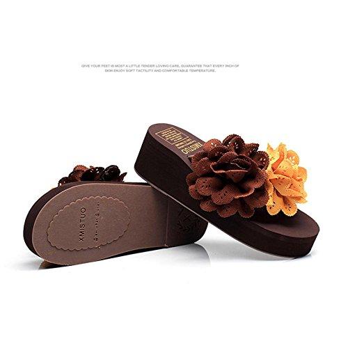 à Sandales Pantoufles CHENGXIAOXUAN Mode Tongs Porter Pantoufles Pantoufles Hauts Et Pantoufles Faites D'été Dérapant Talons Sandales de Occasionnels Fleurs Plage Brown de Main des Femmes des Anti HABrqwHO