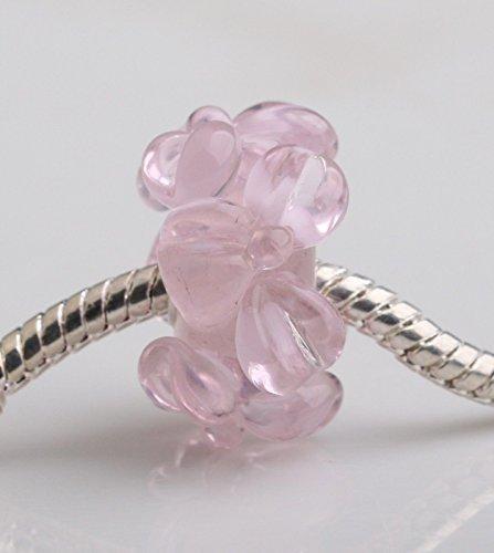 1pcs Big Flowers Murano Glass Bead LAMPWORK Fit European Charm Bracelet QH003 - Murano Lampwork Glass Butterfly Bead