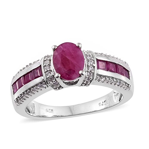 925 Sterling Silver 2.3 Cttw Oval Ruby, Zircon Ring Size - Ring Ruby Zircon