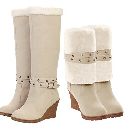 SNIDEL Womens Fashion Round Toe Fully Fur Lined Wedge Heel Foldable Cuff Winter Knee High Boots Beige 8.5 B (M) US