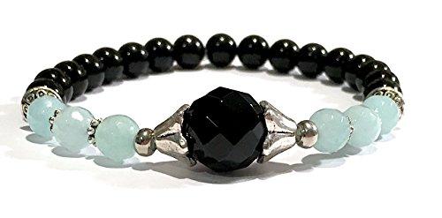 Handmade Black Onyx, Aqua Dyed Snow Quartz and Black Tourmaline Stretch Healing Bracelet Wrist Size 6 to 7