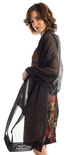 Black Silk Chiffon Gown - Elizabetta Evening Shawl Wrap, Pure Silk Chiffon, Made in Italy, Black