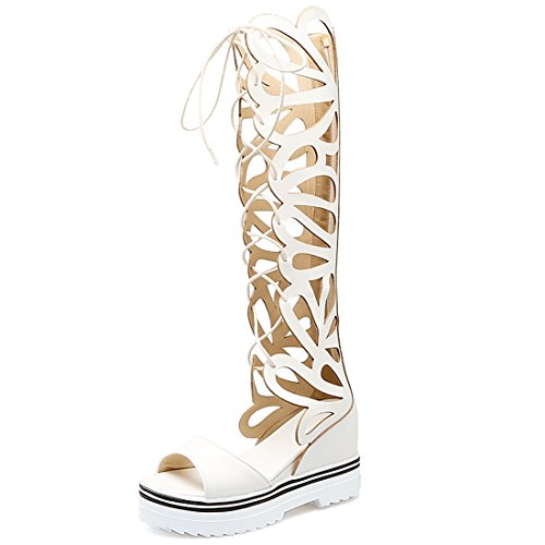 YE Women's Lace up Wedge Knee High Platform Roman Sandals Strappy Zip Gladiator Sandal Boot White 6kRPvuKVS
