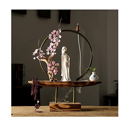 ZKPDIAO Wood Natural Character Home Reverse Perfume Furnace Home Decoration Ladies Statues