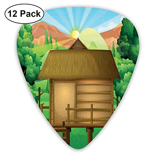 Celluloid Guitar Picks - 12 Pack,Abstract Art Colorful Designs,3D Digital Art Illustration Of A Wooden Hut Shelter In The Forest And Shining Sun,For Bass Electric & Acoustic Guitars.