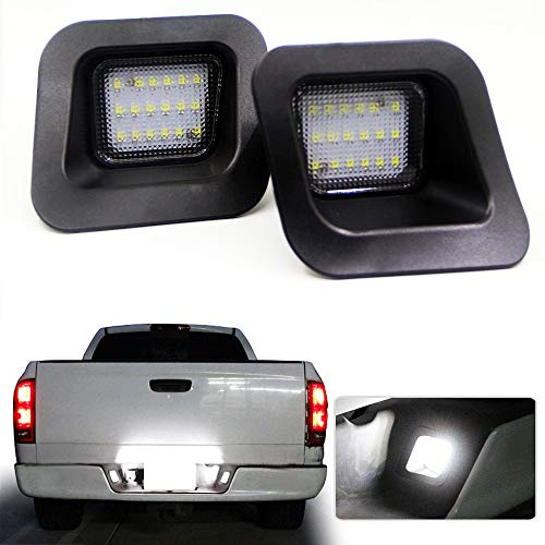 Jinfili 2 Pcs Full LED License Plate Light Lamp Assembly Replacement for Dodge RAM 1500 2500 3500 03-18 Pickup Truck,6000K