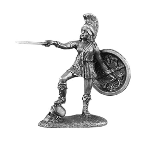 Amazon Woman Warrior with Spear and Shield Female Sculpture Unpainted Tin Metal Toy Soldier Size 1/32 54mm for Home Collectible Figurines Best Gift IT…