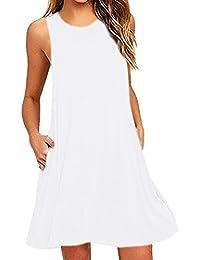 OMZIN Women's Tunic Swing Shirt Dress Sleeveless Tank Dress Blue,2XL