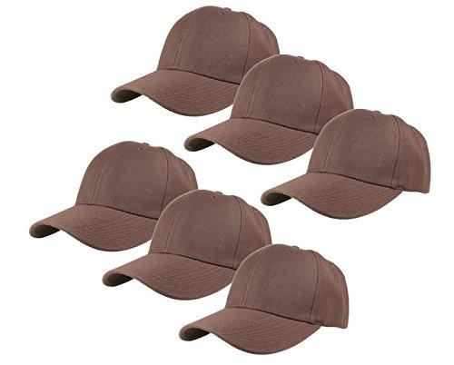 Gelante Plain Blank Baseball Caps Adjustable Back Strap Wholesale Lot 6 Pack - 001-Brown-6Pcs ()