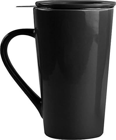 Asobu TEA TIME MUG SET a large 15 ounce loose leaf tea stainless steel infuser and porcelain mug with saucer (Black)