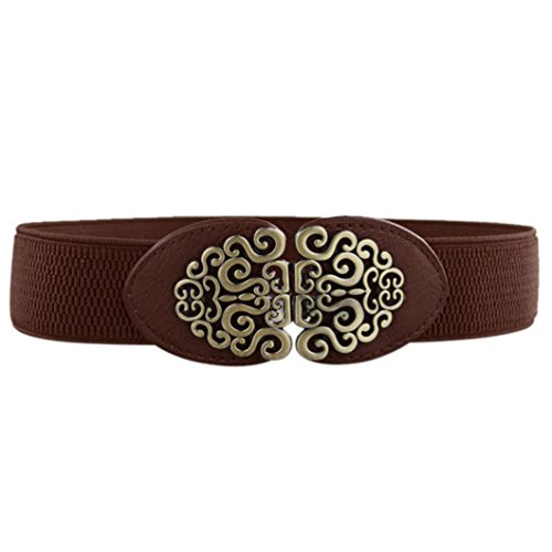 Belted Floral Belt (TONSEE Fashion Vintage Wide Elastic Stretch Waist Belt Waistband for Women (Coffee))