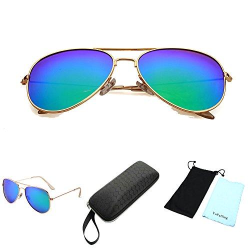 YuFalling Polarized Aviator Sunglasses for Men and Women (gold frame/green lens, 59)
