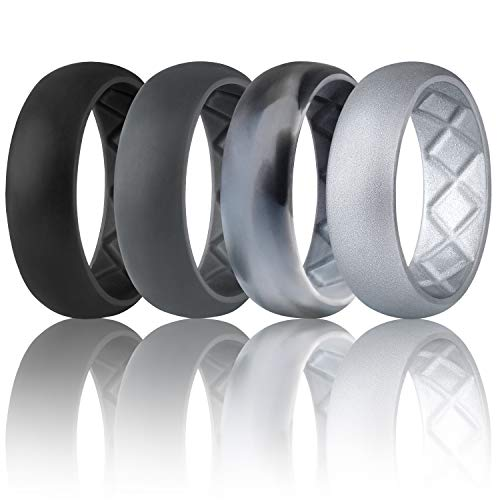 Egnaro Silicone Wedding Ring for Men, Breathable Mens' Rubber Wedding Bands