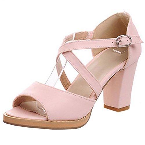 COOLCEPT Mujer Moda Criss Cross Sandalias Punta Abierta Tacon Ancho Zapatos Rosado
