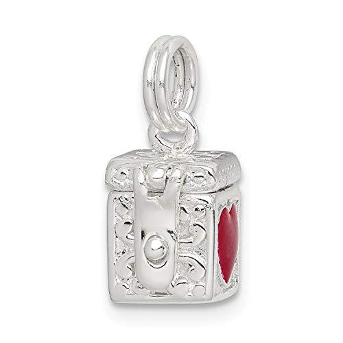 Bonyak Jewelry Sterling Silver Enameled Heart Prayer Box Charm