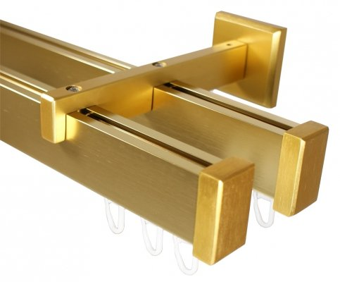 Eckige Design Innenlauf Gardinenstange 2-läufig aus Aluminium in Messing Optik 120 cm