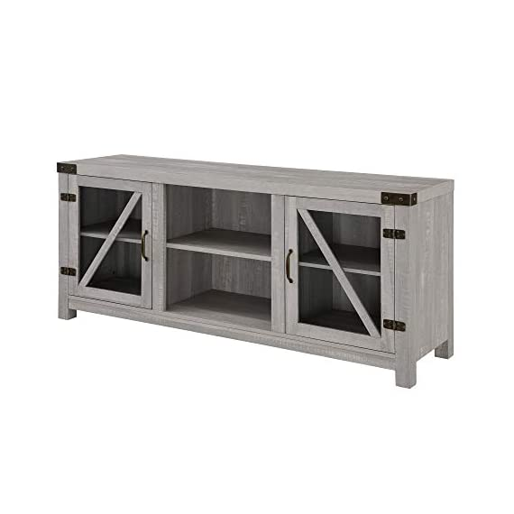 """Walker Edison Furniture Company Farmhouse Barn Glass Wood Universal Stand for TV's up to 64"""" Flat Screen Living Room Storage Cabinet Doors and Shelves Entertainment Center, 58 Inch, Stone Grey - Dimensions: 25"""" H x 59"""" L x 16"""" W Cable management features to run cords in the back of the TV stand Made from high-grade certified MDF for long-lasting construction - tv-stands, living-room-furniture, living-room - 41 JbfC3vYL. SS570  -"""