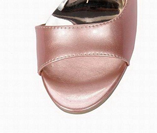 AgooLar à Verni Sandales Talon Unie Rose Haut Femme d'orteil GMBLB014448 Ouverture Couleur BYwBtr