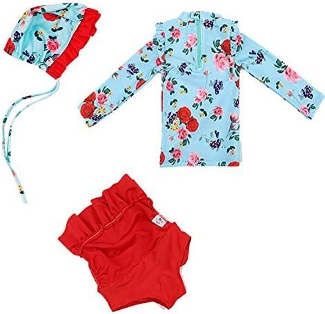 KIDDAD Infant Girls Floral UV Sun Protection Rash Guards Swimsuit Long Sleeve Bathing Suit 3Pcs Set