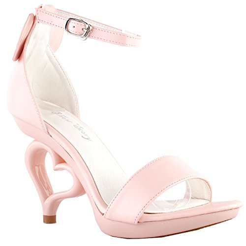 SM33101 Heart Strappy Bow Pink Show Unmoved Wedding Strap Baby Heels Dancing Mouse Bride With Story Sandals Ankle Ear vwqwU0
