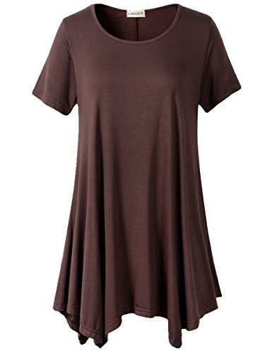 LARACE Womens Swing Tunic Tops Loose Fit Comfy Flattering T Shirt (S, Coffee)