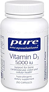 Pure Encapsulations - Vitamin D3 5,000 IU - Hypoallergenic Support for Bone, Breast, Prostate, Cardiovascular, Colon and Immune Health* - 250 Capsules