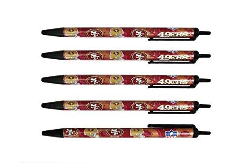 NFL San Francisco 49ers Disposable Black Ink Click Pens, 5-Pack