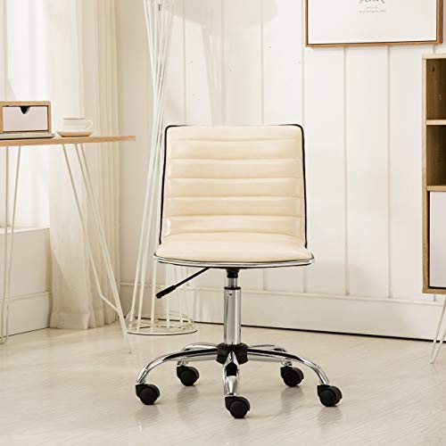 Roundhill Furniture OF1011BG Fremo Chromel Adjustable Air Lift Office Chair in Beige