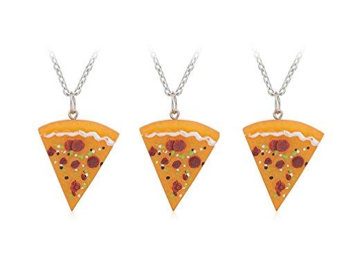Best friend puzzle chain pizza pendant charm necklace keychain (Strand Belt Lariat Necklace)