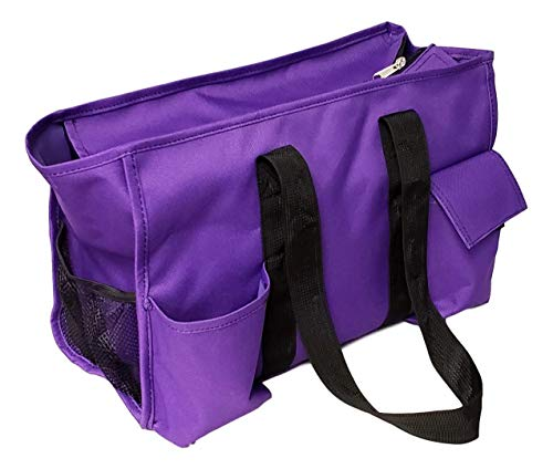 Solid Color Zipper Top Organizing Game Day Tote Diaper Bag Weekender Tailgate Can Be Personalized (Blank - Purple) (Thirty One Organizing Utility Tote Diaper Bag)
