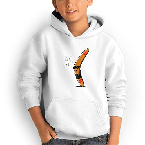 Shenhuakal Youth Hoodies I'll Be Back Ggirl%Boy Sweatshirts Pullover with Pocket White 32 by Shenhuakal
