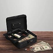 Stalwart Caixa de dinheiro – Cofre para dinheiro com bandeja removível de 5 compartimentos e combinação de ent