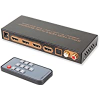 4K@60Hz HDMI Audio Extractor Splitter 3 Port HDMI Switch with Optical Toslink SPDIF & RCA L/R Audio Out Support UHD HDR10 Dolby Vision 4Kx2K 3D 1080P HDCP2.2 ARC