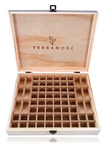 (Essential Oil Case/Box by Terramore. Large 68 Bottle Storage Organizer. Natural Pine Wood. Holds 56ea 5-15ml Bottles And 12ea Roll-On Bottles.)