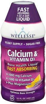 Wellesse Calcium & Vitamin D Liquid Natural Citrus Flavor - 16 oz, Pack of 6