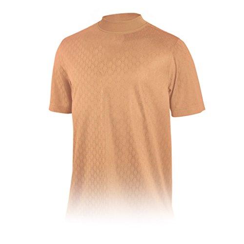 Monterey Club Mens Dry Swing Diamond Shape Mock Neck Shirt #3297 (Peach Nectar, - Nectar Club