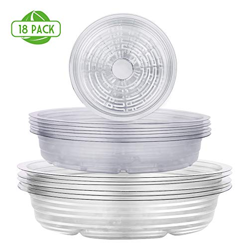 Remiawy Clear Plant Saucers 18 Pack Flower Pot Drip Trays for Indoor & Outdoor Plants Garden Saucers Plant Pot Saucer Trays - Assorted Sizes for Large to Small Pots, 6/8/10 Inch