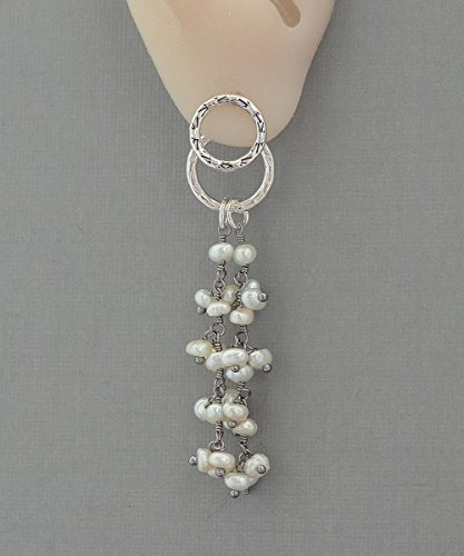 Long cultured freshwater pearl front back hoop cluster earrings double sided ear (Front Cluster)
