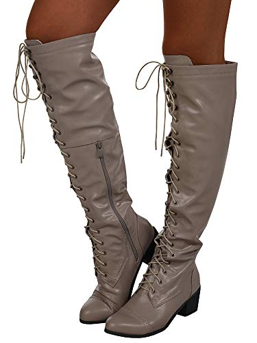 Riding Leather Heel Womens Winter Strappy Lace Boots Syktkmx Up Low Motorcycle khaki 3 Knee High 0TzPxnFW