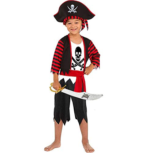 Boys Pirate Costume Children's Pirate Role Play Dress-up Set 4-6Y Black]()