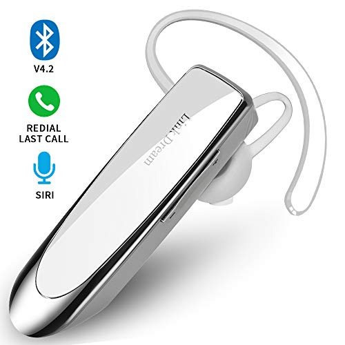 Bluetooth Earpiece- Wireless Bluetooth Headset Noise Cancelling with Mic 24Hrs Talktime Hands-Free 1440Hrs Standby Time Headphones Compatible with iOS/Android Smart Phones, Driver Trucker, White