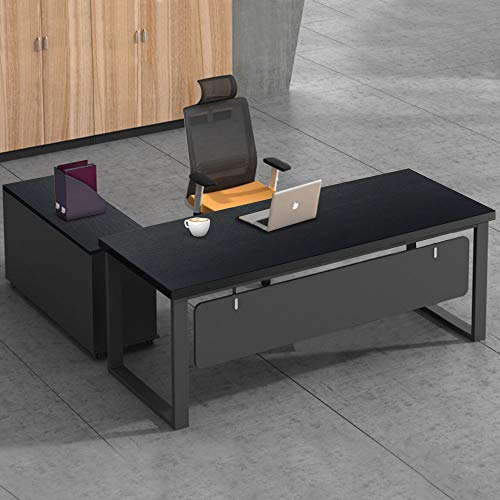 """Tribesigns L-Shaped Desk, 55"""" Modern Computer Desk with File Cabinet, Large Executive Office Desk Business Furniture with Storage Shelves for Home Office (Black)"""