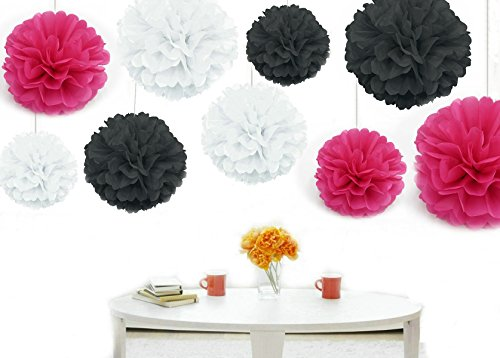 Kubert® Pom Poms - 18 pcs Tissue Paper Flowers, White & Hot Pink & Black ,3 Sizes,Tissue Paper Pom Poms,Best Mother's Day decoration,Wedding Decor,Party Decor,Pom Pom Flowers,Tissue Paper Pink,Tissue Paper Flowers Kit,Pom Poms Craft,Wedding Pom Poms,For Baby Shower,Pom Poms Pink,Pom Poms Decoration -