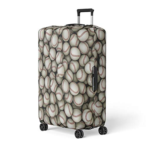 Infield Protector - Pinbeam Luggage Cover Red Field Baseballs Softball League Major Ball Infield Travel Suitcase Cover Protector Baggage Case Fits 26-28 inches