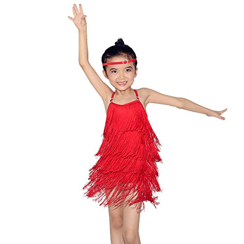 MiDeeFringed Latin Dance Wear Salsa Dress Cheap Ballroom Latin Dance Dresses For Sales (LC, Red) (Competition Dance Costume For Sale)