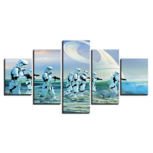 YJHCZC Hd Printed Abstract Pictures Canvas Living Room Wall Art 5 Pieces Movie Star Wars Paintings Soldiers Poster Home Decor (5 Piece Canvas Wall Art Star Wars)